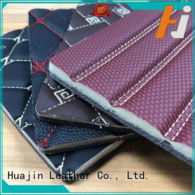 HUAJIN artificial diamond stitching leather with sponge for car seat