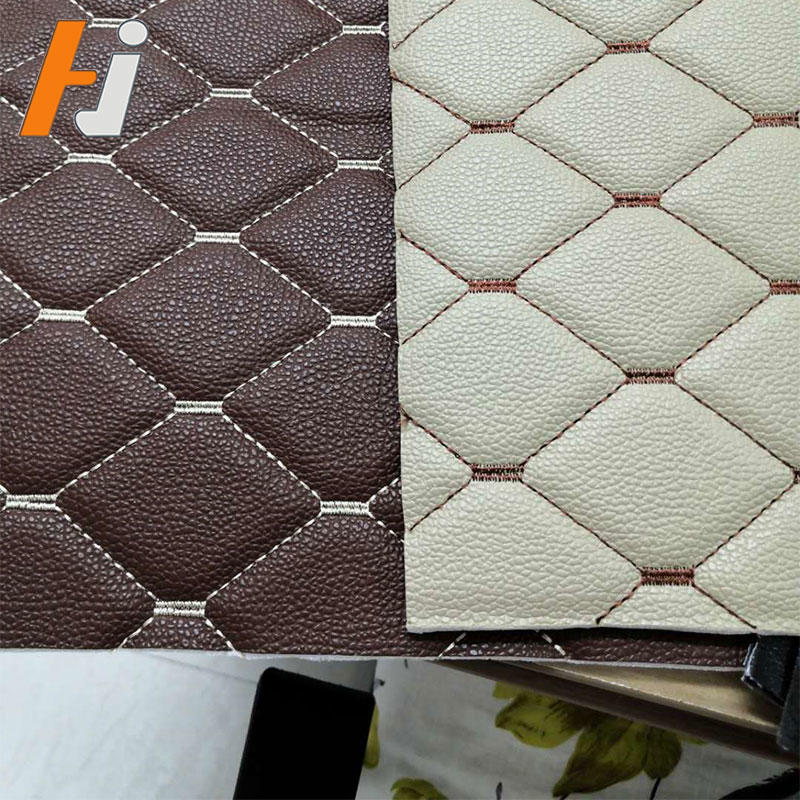 Embroidery leather with sponge for car seat upholsetery, car floor mat and furniture